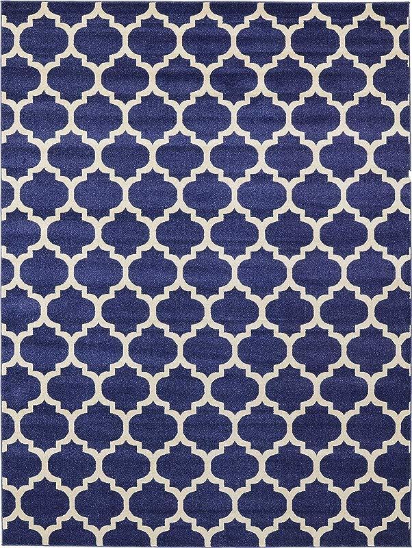 Unique Loom Trellis Collection Moroccan Lattice Dark Blue Area Rug 9 0 X 12 0