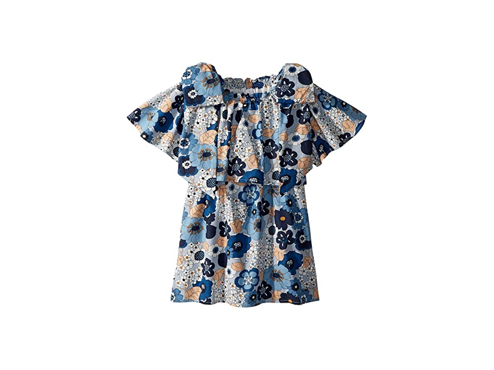 Chloe Kids Mini Me Floral Print Knots Details (Little Kids/Big Kids) (Marine Bleu) Girl