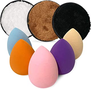 Nu Fash'n 5 pcs Beauty Makeup Sponge 3 pcs of Cleansing Pads Original Blenders set, Make-Up Remover Cloth -Soft & Gentle - Washable & Reusable