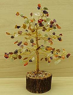 Reikiera Semipreciosa la piedra preciosa del árbol de Feng Shui curativo de piedra Tabla Espiritual Decoración - hilo de oro