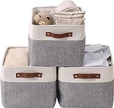 DECOMOMO Large Foldable Storage Bin [3-Pack] Collapsible Sturdy Cationic Fabric Storage Basket Cube W/Handles for Organizi...