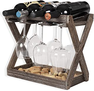 Rustic State Cava Solid Wood Wine and Glass Rack Cork Storage Tray Table Top Bottle Holder Walnut