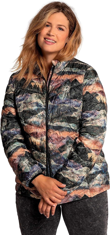 Ulla Popken Womenswear Plus Size Curvy Oversize Landscape Print Chevron Quilted Fully Lined Jacket 750573
