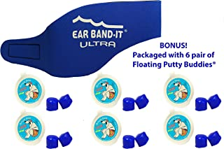 (Blue, Medium (ages 4-9)) - EAR BAND-IT ULTRA Swimming Headband with PUTTY BUDDIES earplugs - 6 Pair Soft Silicone Premium...