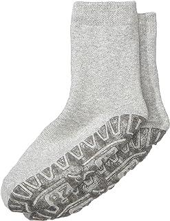 Calcetines con suela de goma antideslizante, Edad: 7-8 Años, Talla: 32, Gris claro (Plata moteada)