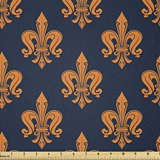 Ambesonne Fleur De Lis Fabric by The Yard, Victorian Floral Pattern of Orange Color and Curly Ornaments Gothic Era, Stretc...