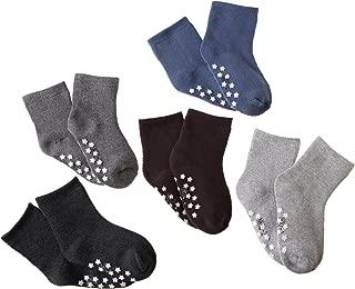 HERHILLY Toddler Kids Winter Cotton Socks Boys Girls Athletic Non Slip Crew Socks For 0M-13 Year Old -5 Pack