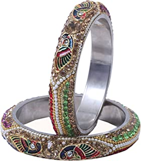 Sukriti Indian Stylish Peacock Embellished Lac Bangles for Women & Girls - set of 2 (Colors Available)