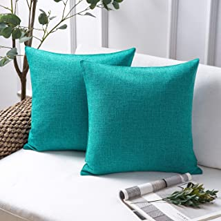 Phantosope Decorative Set of 2 Textural Faux Linen Series Throw Pillow Case Cushion Cover Lake Blue 18 x 18 inches 45 x 45 cm