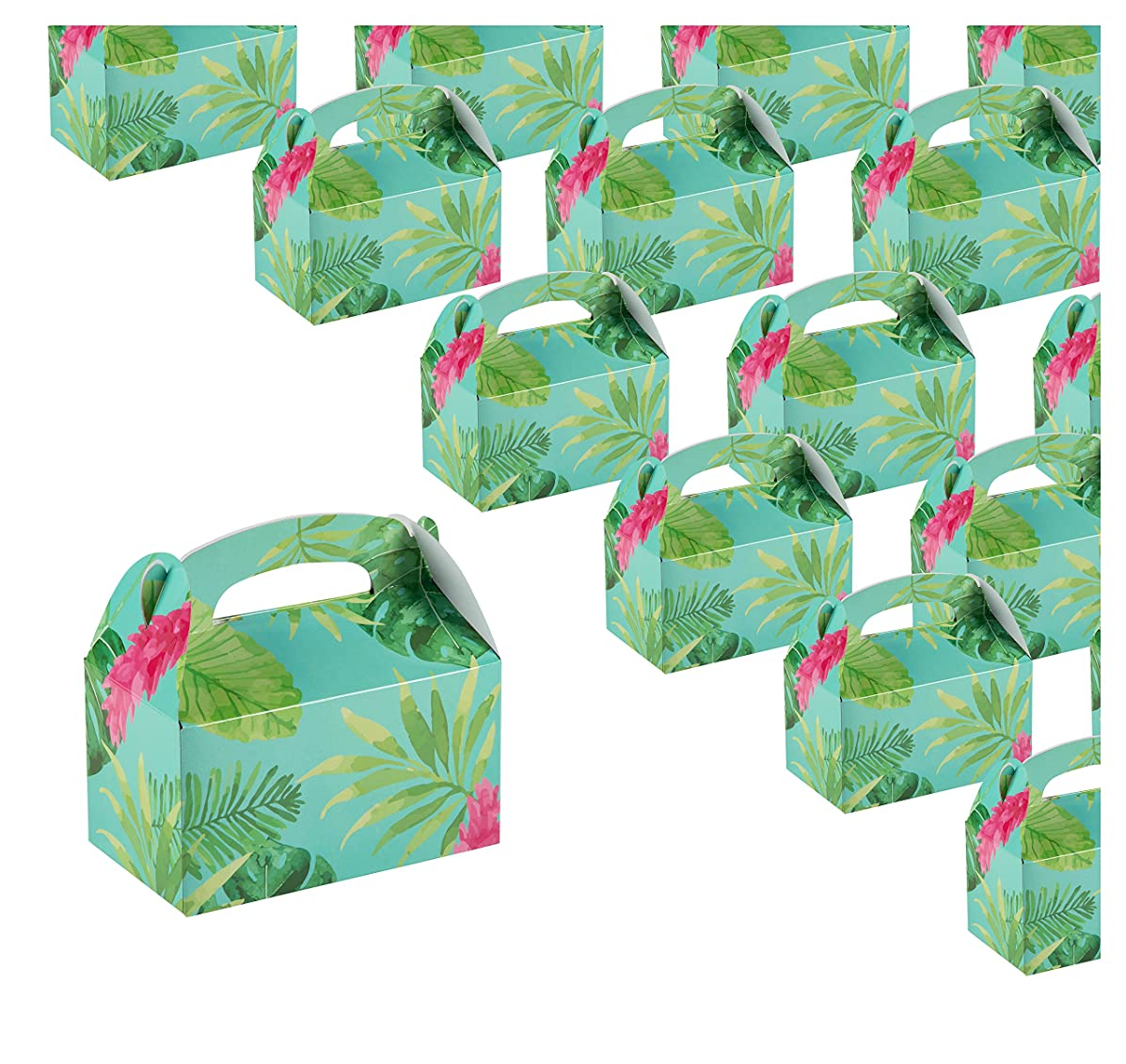 Treat Boxes - 24-Pack Paper Party Favor Boxes, Tropical Floral Design Goodie Boxes for Birthdays and Events, 2 Dozen Party Gable Boxes, 6 x 3.3 x 3.6 inches