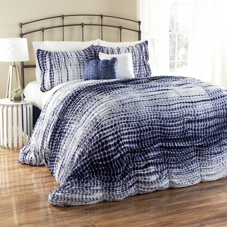 Lush Industry No. latest 1 Decor 5 Piece Pebble Creek Dye Comforter King Nav Tie Set