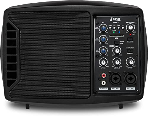popular LyxPro SPA-5.5 Small PA Speaker Monitor Class-D Amplifier 3 Channel Mixer 3 high quality Band EQ, Powerful Compact Active Speaker discount System amp with mixer 48V Phantom Power outlet sale