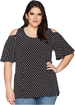 Plus Size Cold Shoulder Handkerchief Top