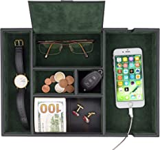 Homesteo Valet Tray | 6 Compartments | Bedroom Organizer with Charging Station | Perfect for Men and Women | Black PU Leat...