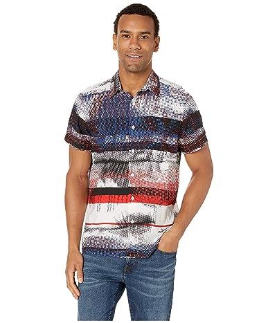 Perry Ellis Graffiti Stripe Print Shirt (Bright White) Men