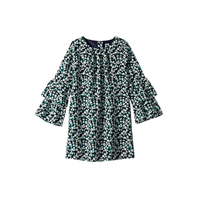 Janie and Jack Tiered Bell Sleeve Dress (Toddler/Little Kids/Big Kids) (Navy Floral) Girl