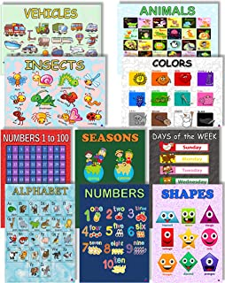 10 Educational Classroom Posters for Preschool and Toddler Learning |Teacher Supplies, ABC Alphabet, Numbers, Shapes, Colors, Vehicles and More by 3D Learning LLF