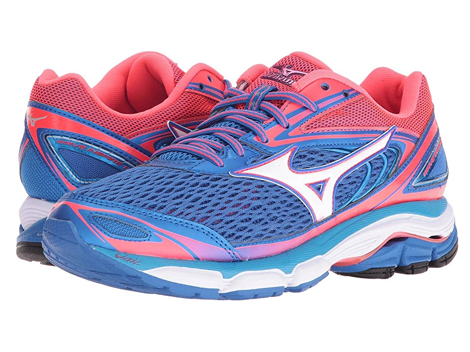 Mizuno Wave Inspire 13 (Strong Blue/Diva Pink/White) Girls Shoes