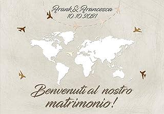 Cartello benvenuto matrimonio - Pannello accoglienza invitati personalizzato tema viaggio mappamondo vintage
