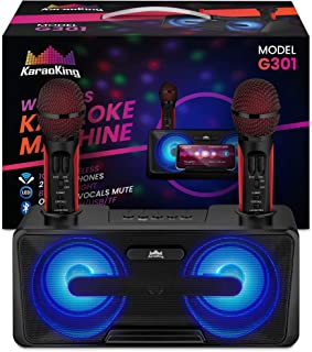 KaraoKing New 2020 Karaoke Machine – for Adults and Kids – 2 Wireless Karaoke Microphone, SD Card, USB, Bluetooth Compatible, LED Lights – Home, Bachelor Party, Picnic, Outdoor/Indoor [G301 Black]