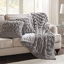 """Comfort Spaces Ruched Faux Fur Plush 3 Piece Throw Blanket Set Ultra Soft Fluffy with 2 Square Pillow Covers, 50""""x60"""", Grey"""