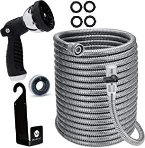 Morvat Stainless Steel Expandable Garden Hose 100 FT - Metal Water Hose, Resistant to Tangles and Punctures, ON/OFF Brass Connection, 10 Pattern Spray Nozzle, Hose Holder, Washers & Teflon Tape