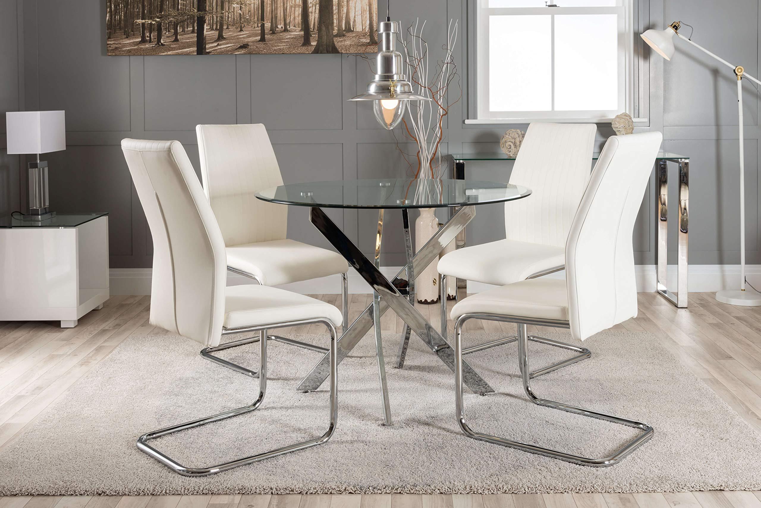 Furniturebox Uk Novara Chrome Metal Round Glass Dining Table And 4 Black White Lorenzo Dining Chairs 4 White Chairs Buy Online In Guam At Guam Desertcart Com Productid 57876833
