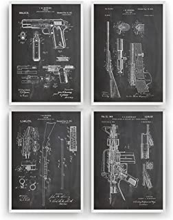 Gun Patent Prints Art - Set Of 4 - M16-1911 - Shotgun - Bolt Gun - Gift Merchandise Poster Vintage Old Original Blueprint Rifle Firearms Collector Owner Wall Decor - Frame Not Included