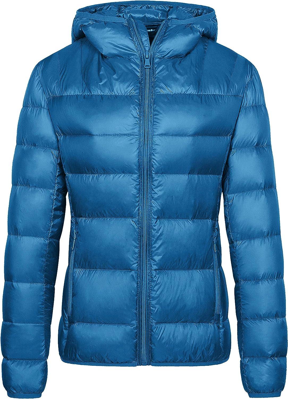Wantdo Women's Packable Down Jacket Lightweight Puffer Jacket Hooded Short Winter Coat