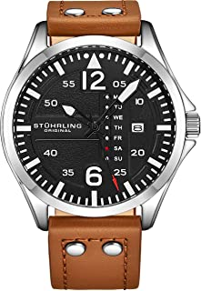 Stuhrling Original Mens Leather Watch - Black Aviation Watch Dial, Quick-Set Day-Date, Leather Band with Steel Rivets, 699 Men Watch Collection