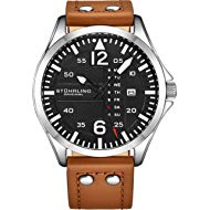 Mens Leather Watch -Aviation Watch, Quick-Set Day-Date, Leather Band with Steel Rivets, Men Watch...