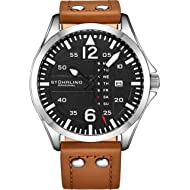 Stuhrling Original Mens Leather Watch -Aviation Watch, Quick-Set Day-Date, Leather Band with...