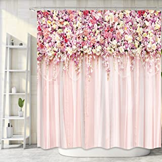 Riyidecor Bridal Floral Wall Shower Curtain for Bathroom 72Wx72H Inch Pink Rose Pattern Bath Set for Woman Girl Vintage Sp...