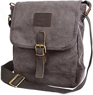 Canvas Messenger Bag TOPWOLF Small Crossbody Bag Casual Travel Working  Tools Bag Shoulder Bag Hold Phone c283dae539e