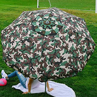Beach and Grass Umbrella with Matching Travel Carrying Bag - Large 7 Feet 5 Inches Tilting Telescopic Aluminum Pole - Twist Sand/Grass Anchor - Wind Air Vent - Fiberglass Ribs (Camouflage Green)