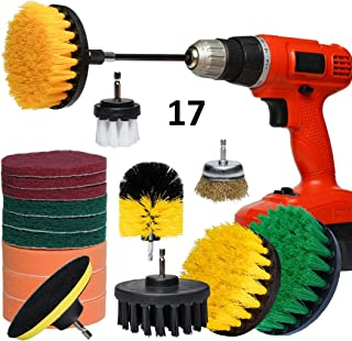 UZMIS Drill Brush Set w Extension Attachment 17 Piece, Including Metal Wire Brush for Rust and BBQ Grill. Household & Clea...