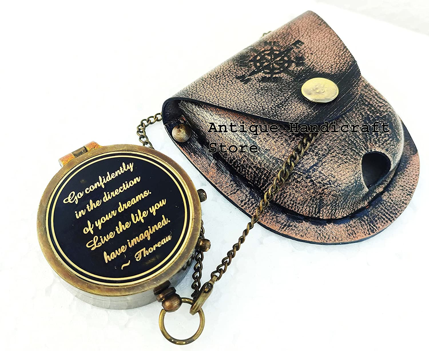 Antique Handicraft Store Brass Compass with Thoreau's Engraved Special sale item Tulsa Mall G