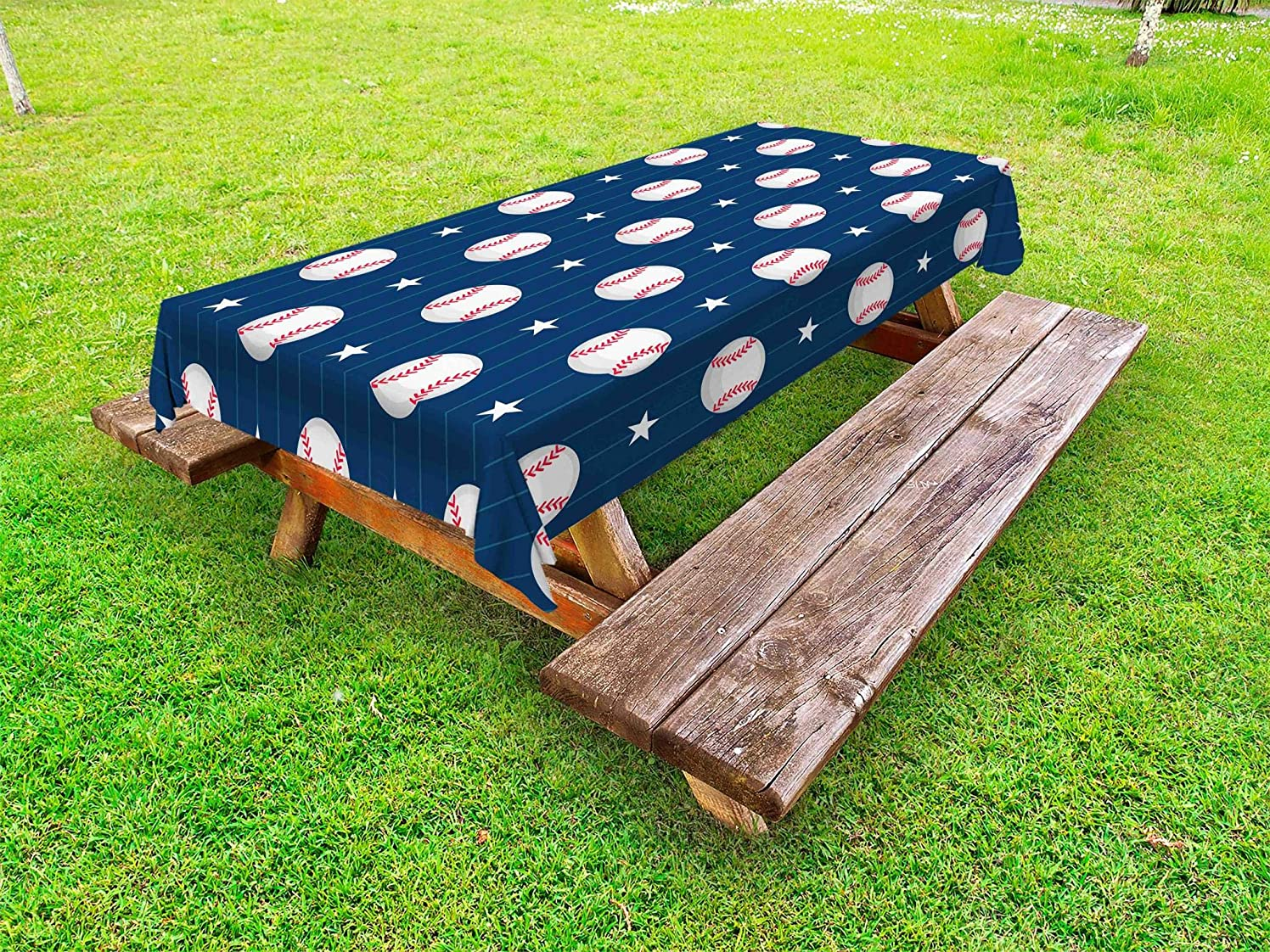 Ambesonne Sports Outdoor Tablecloth, Baseball Patterns on Vertical Striped Background Stars Artistic Design, Decorative Washable Picnic Table Cloth, 58 X 84 Inches, Blue Red