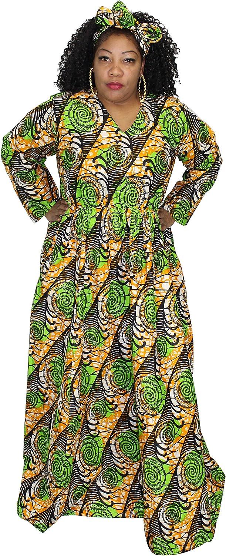 African Planet Women's Long Sleeve Maxi Empire Waist Kaftan Dress