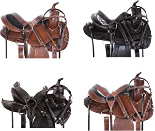 AceRugs GAITED Quarter Horse Saddle Western Pleasure Trail Endurance Riding Round Skirt Premium Leather TACK Set