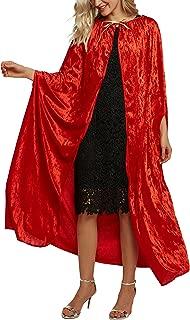 Women's Costume Full Length Crushed Velvet Hooded Cape