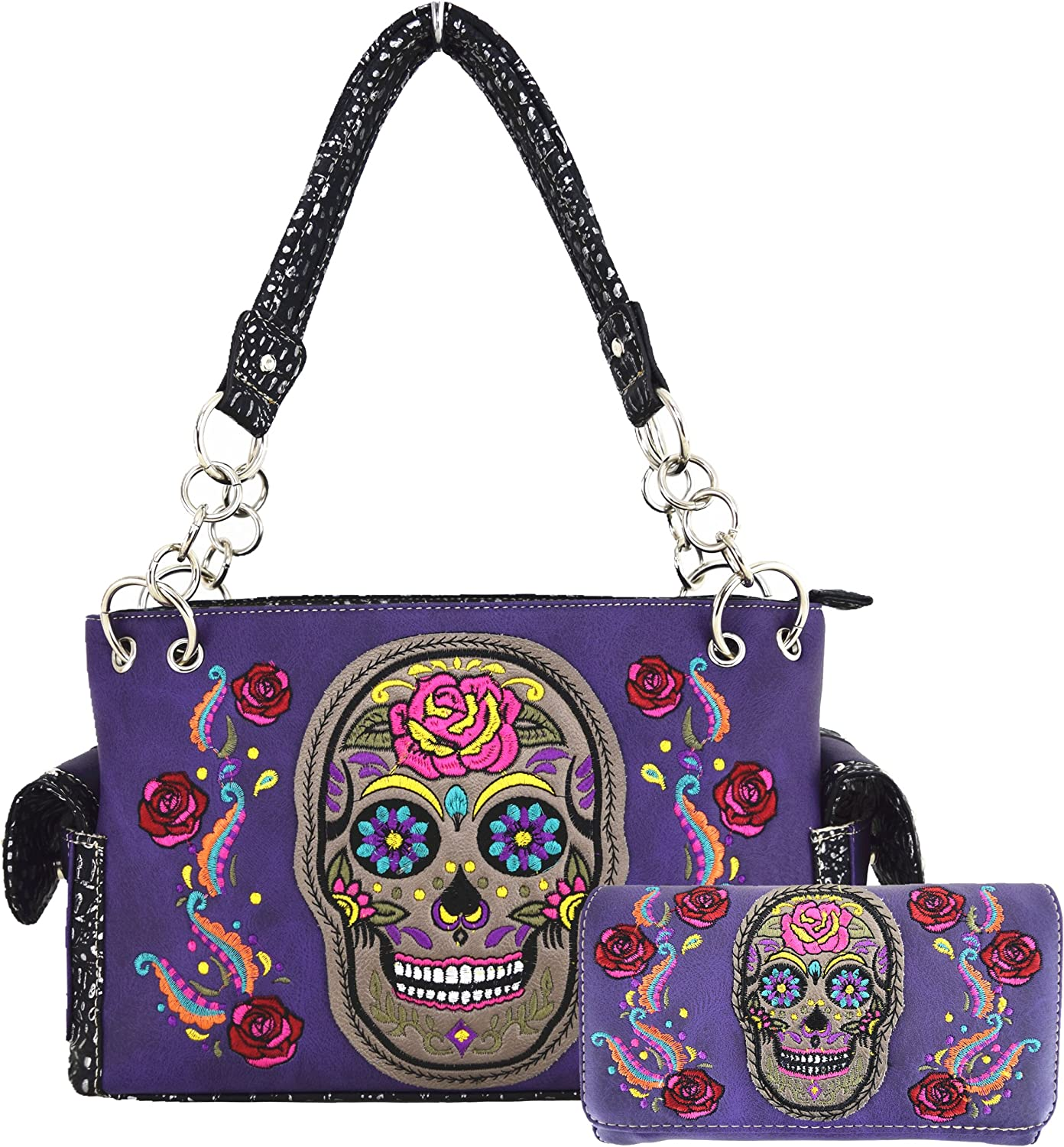 Sugar Skull Day of the Dead Halloween flowers embroidered Women's Shoulder Bag Handbags With Wallet Set