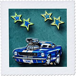3dRose qs_128830_2 Blown Mustang Vintage Race Car with Stars for The Classic Car Lover Quilt Square, 6 by 6-Inch