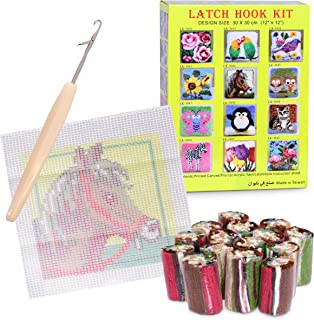 DIY Horse Latch Hook Kit (12 x 12 inches) for Rug, Mat, Throw Pillow, Sofa Cushion Cover - Includes Brightly Printed Canvas, Tools, Instructions & Yarn - Yarn Needlework Crafts Set for Kids & Adults