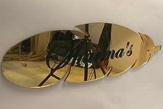 Aarushi Creations Leaf Design Golden Mirror Shine Acrylic Sheet Home Door Name Plate