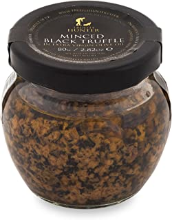 TruffleHunter Minced Black Truffle (2.82 Oz) Preserved in Extra Virgin Olive Oil - Gourmet Food Condiments Garnish - Vegan, Vegetarian, Kosher and Gluten Free - No MSG, Non-GMO