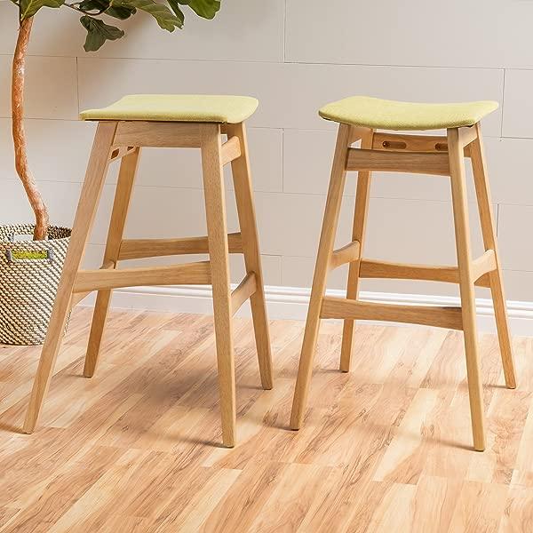 Christopher Knight Home 298980 Emmaline Fabric Oak Finish Bar Stool Set Of 2 Green Tea