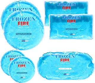 Frozen Fire Hot Cold Gel Packs – 7 Reusable Packs in 4 Sizes for Multiple Applications - Muscle & Joint Pain, Sinus Relief...