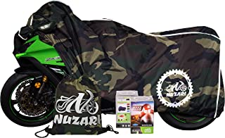 Breathable Motorcycle Cover W/elastic Bottom. Premium Heavy Duty Outdoor Waterproof All Season Polyester W/soft Screen Shield. Universal Heat Resistant Lockable Fabric (Camouflage, Large)