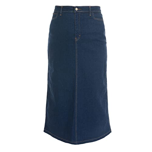 0766813e4b Ice Cool Ladies Women's Indigo Stretch Denim Maxi Skirt Sizes 14 To 30